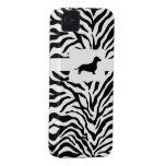 Zebra Stripe w/Dachshund Case-Mate iPhone 4 Cases