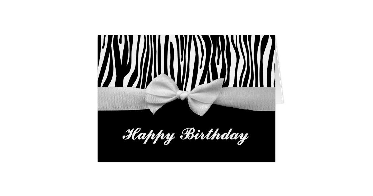 zebra stripe  u0026 white ribbon graphic happy birthday card