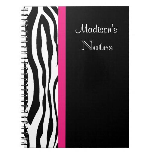 Zebra Stripe with Pink Personalized Notebook