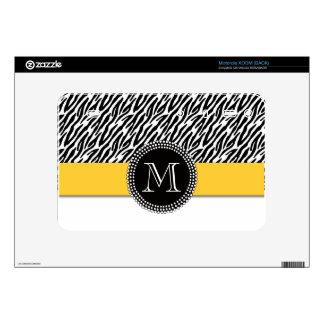 Zebra Stripe Yellow Monogram Motorola XOOM Skin