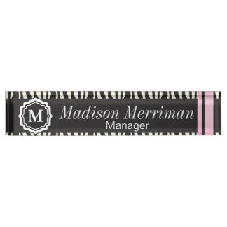 Zebra Striped Animal with Pink Bars | Personalize Nameplate