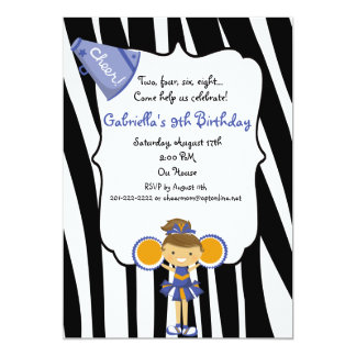 "Zebra Striped Blue Cheerleader Birthday Invite 5"" X 7"" Invitation Card"