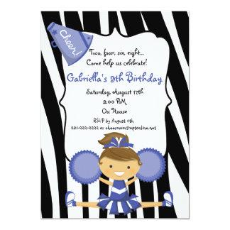 Zebra Striped Blue Cheerleader Birthday Invite