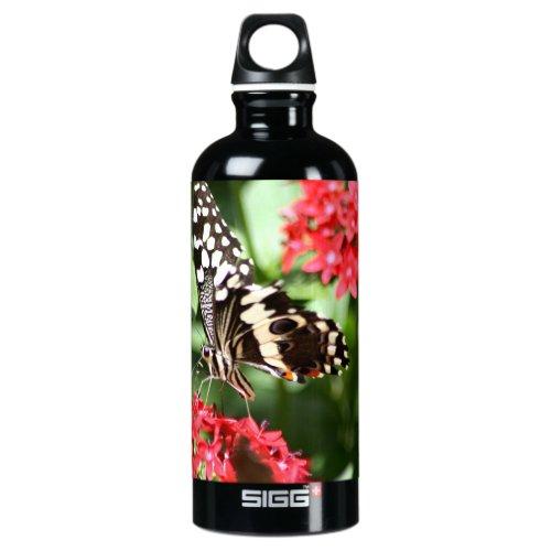 Zebra Striped Butterfly Aluminum Water Bottle