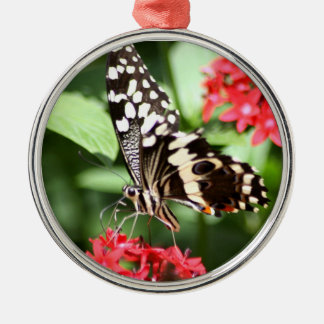 Zebra Striped Butterfly Metal Ornament