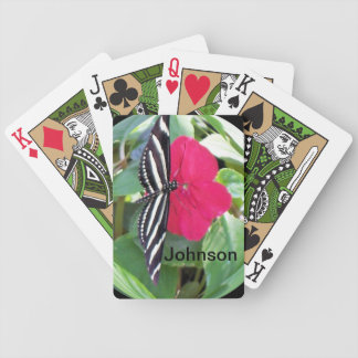 Zebra-Striped Butterfly on Bright Pink Petunia Bicycle Playing Cards