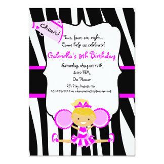 Zebra Striped Hot Pink Cheerleader Birthday Invite
