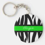 Zebra Striped Pattern Personalized Name Keychain