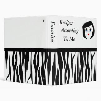 Zebra Striped Recipe Binder