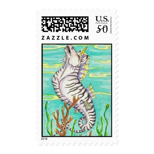 Zebra Striped Unicorn Sea Horse Postage