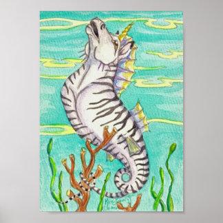 Zebra Striped Unicorn Sea Horse Poster