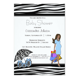 Zebra Stripes And Blue African American Mommy 5x7 Paper Invitation Card