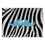 Zebra Stripes And Blue Bling Mustache Card at Zazzle