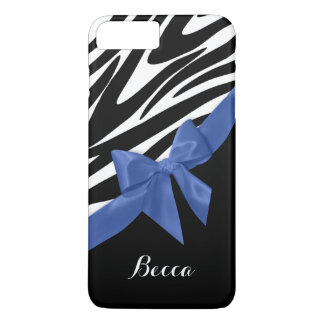 Zebra Stripes and Blue Bow with Name iPhone 7 Plus Case