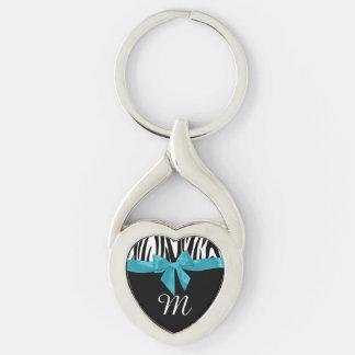 Zebra Stripes and Bow with Monogram Keychain