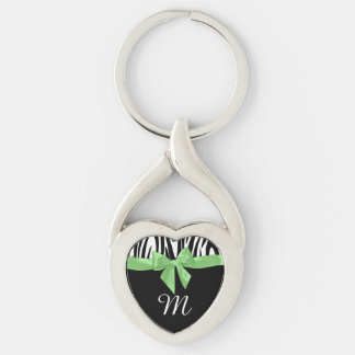 Zebra Stripes and Green Bow with Monogram Silver-Colored Heart-Shaped Metal Keychain