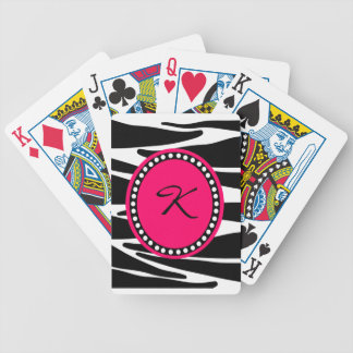 Zebra Stripes And Hot Pink Monogrammed Initial Bicycle Playing Cards