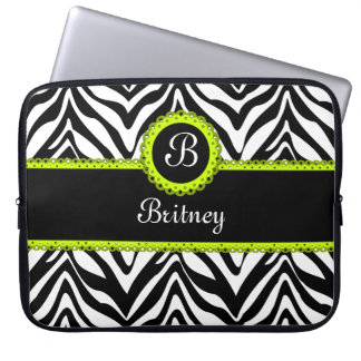 Zebra Stripes and Lime Green Lace Monogram Computer Sleeve