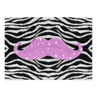 Zebra Stripes And Pink Bling Mustache 5x7 Paper Invitation Card