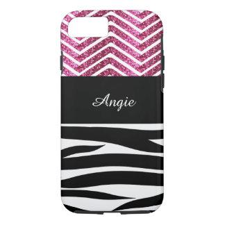 Zebra Stripes and Pink Glitter Chevron Bling iPhone 7 Case