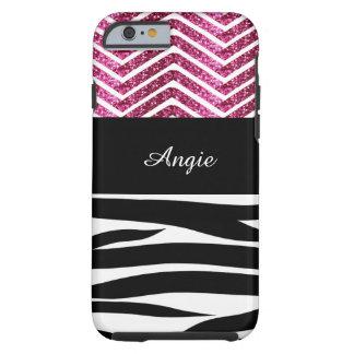 Zebra Stripes and Pink Glitter Chevron Bling Tough iPhone 6 Case
