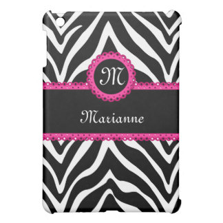 Zebra Stripes and Pink Lace Personalized iPad Mini Case