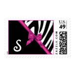 Zebra Stripes and Pink Ribbon Monogram Stamp