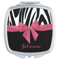 Zebra Stripes And Pink Ribbon With Name Makeup Mirror at Zazzle