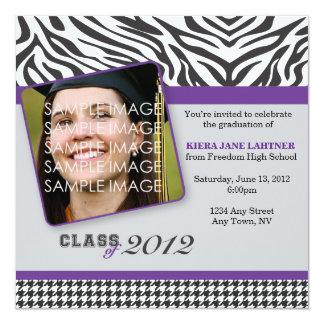 """Zebra Stripes and Purple Graduate Party Invitation 5.25"""" Square Invitation Card"""