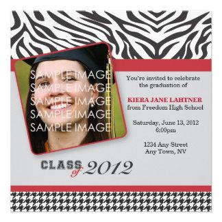 Zebra Stripes and Red Graduate Party Invitation