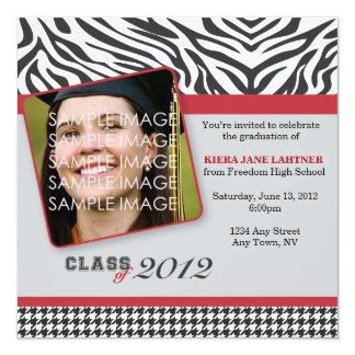 """Zebra Stripes and Red Graduate Party Invitation 5.25"""" Square Invitation Card"""