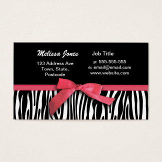 Zebra stripes and red ribbon graphic business card