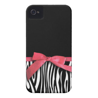 Zebra stripes and red ribbon graphic Case-Mate iPhone 4 cases