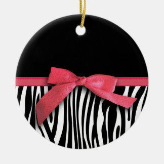 Zebra stripes and red ribbon graphic ceramic ornament