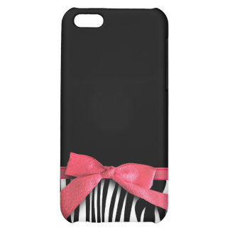 Zebra stripes and red ribbon graphic iPhone 5C cover