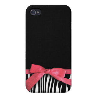 Zebra stripes and red ribbon graphic cases for iPhone 4