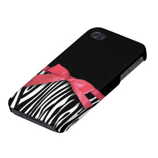 Zebra stripes and red ribbon graphic iPhone 4/4S cases