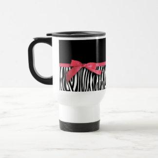 Zebra stripes and red ribbon graphic travel mug