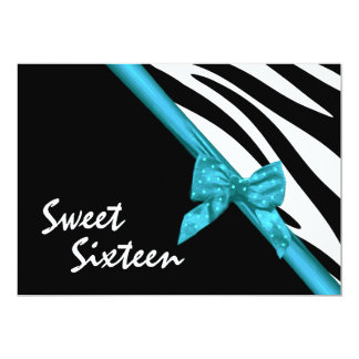 Zebra Stripes and Ribbon Sweet Sixteen 5x7 Paper Invitation Card