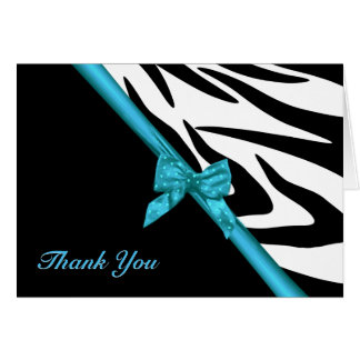 Zebra Stripes and Ribbon Thank You Note Stationery Note Card