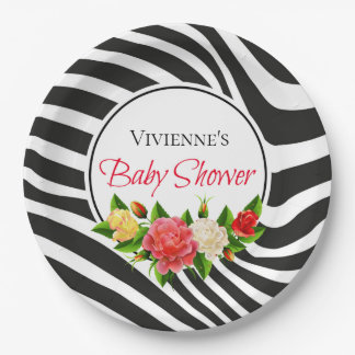 Zebra Stripes and Roses Modern Baby Shower Paper Plate