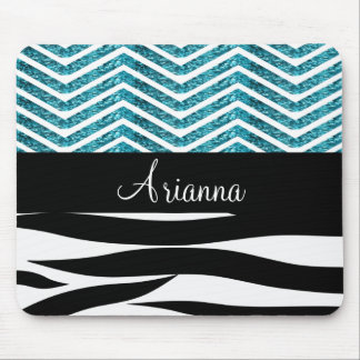 Zebra Stripes and Turquoise Glitter Chevron Bling Mouse Pad