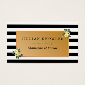 Zebra Stripes Any Color Floral Manicure Business Card