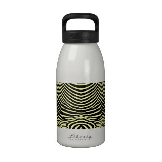 ZEBRA STRIPES: BLACK and PALE YELLOW BLKpaleYellow Reusable Water Bottles