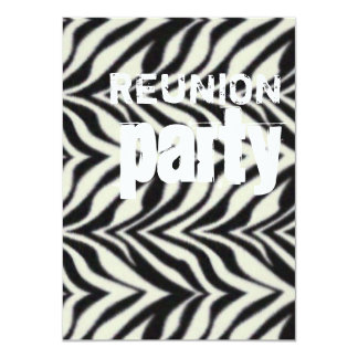 Zebra Stripes black and white Reunion Party Card