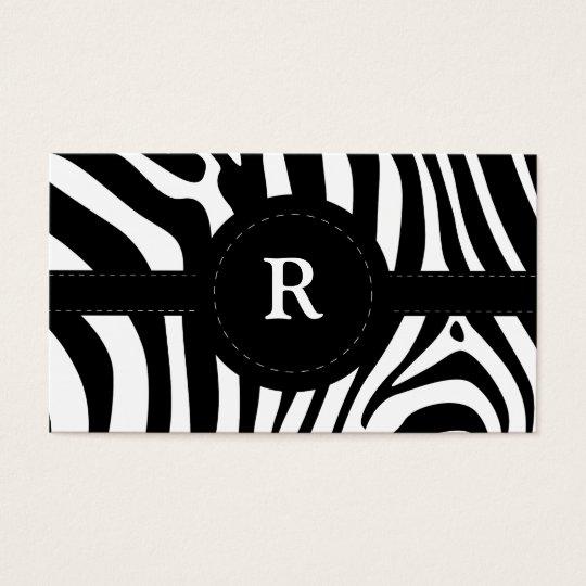 Zebra stripes black & white custom R business card