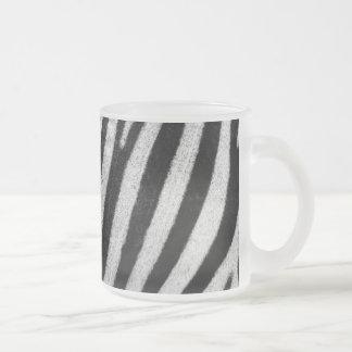 Zebra stripes black & white texture photograph frosted glass coffee mug
