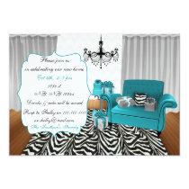 zebra stripes, blue gray chevron, chandelier couch card