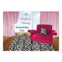 zebra stripes, chic Pink sofa, mod invites
