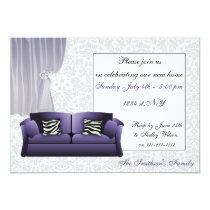 zebra stripes, chic Purple couch, mod invites